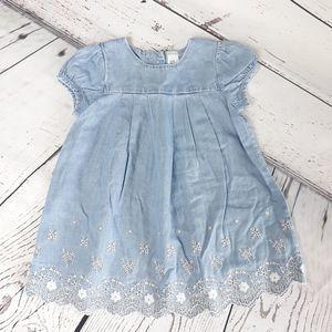 Baby B'gosh Chambray Embroidered Dress Blue 12M